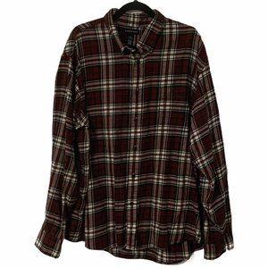 LANDS' END Red Green Plaid Flannel Dress Shirt XXL